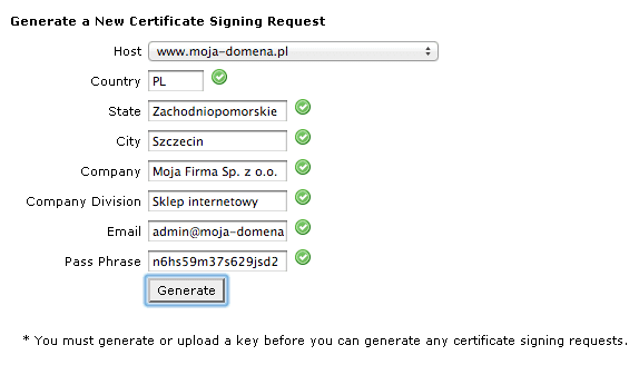 Generate a New Certificate Signing Request