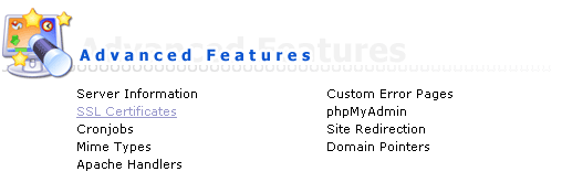 Advanced Features / SSL Certificates