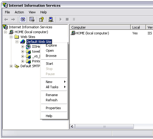 Internet Information Services (IIS) 6.0, Default Web Site, Properties