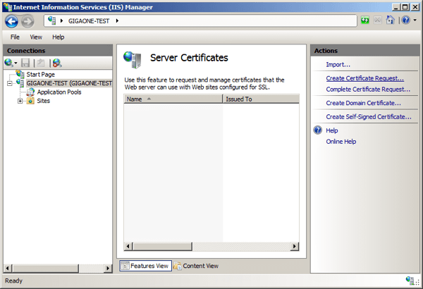 Internet Information Services (IIS) Manager / Features View / Create Certificate Request
