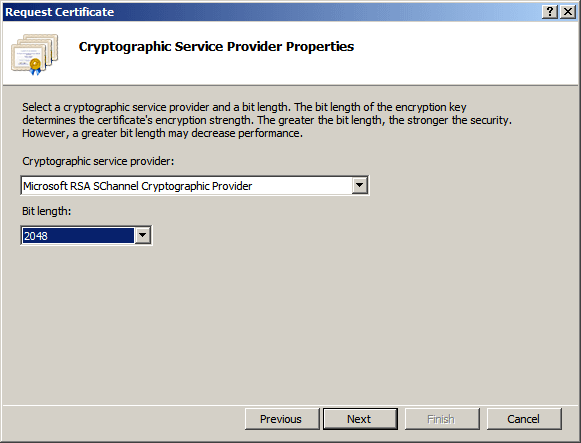 Request Certificate / Cryptographic Service Provider Properties
