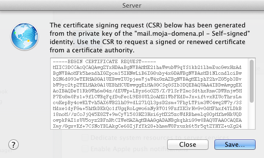 The certificate signing request (CSR) below has been generated from the private key of the [...] - Self-signed identity. Use the CSR to request a signed or renewed certificate from a certificate authority