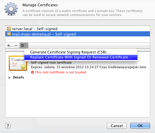 Manage Certificates...